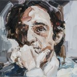 François Truffaut, óleo sobre lienzo, 19x24 cm