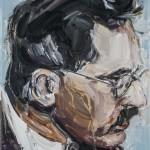 Walter Benjamin, óleo sobre lienzo, 24x19 cm
