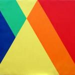 Pentacromía en torno al amarillo, óleo sobre lienzo, 100 x 86 cm.