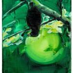 Pájaro. Back., 24 x 16 cm.  Óleo sobre lienzo