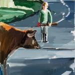 Niño con guante rojo, 130 x 89 cm, óleo sobre lienzo