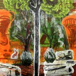 Fantasía occidenta, la ruina de Adán (pintura neoiberista) 200x150 cm