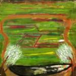 Vaso con contenido y fondo, óleo sobre lienzo, 55x46 cm